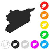 Syria map - Flat icons on different color buttons