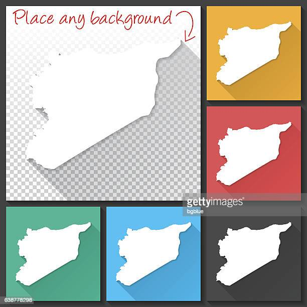 Syria Map for design, Long Shadow, Flat Design