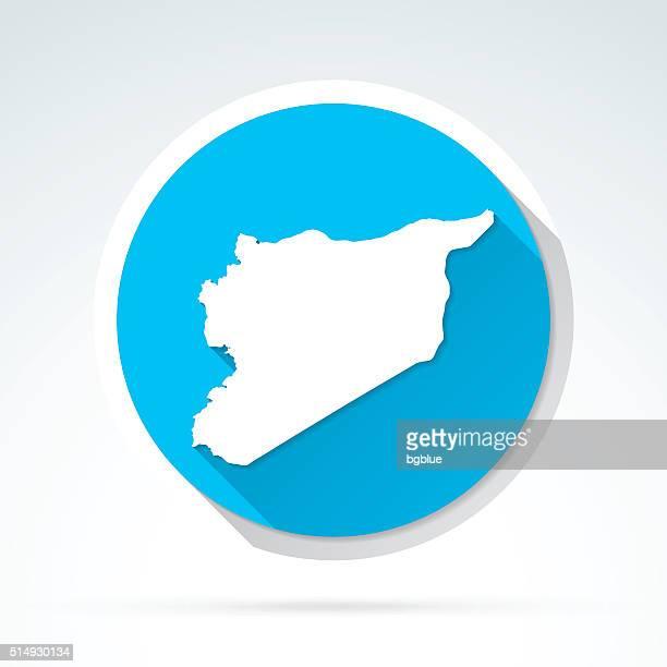 Syria map icon, Flat Design, Long Shadow