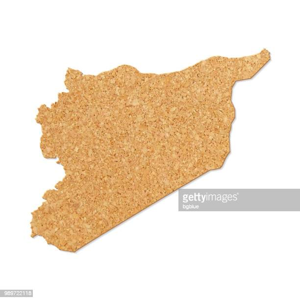 Syria map in cork board texture on white background