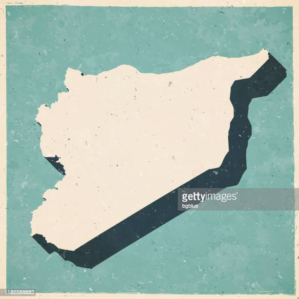 syria map in retro vintage style - old textured paper - syria stock illustrations
