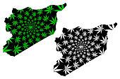 Syria - map is designed cannabis leaf