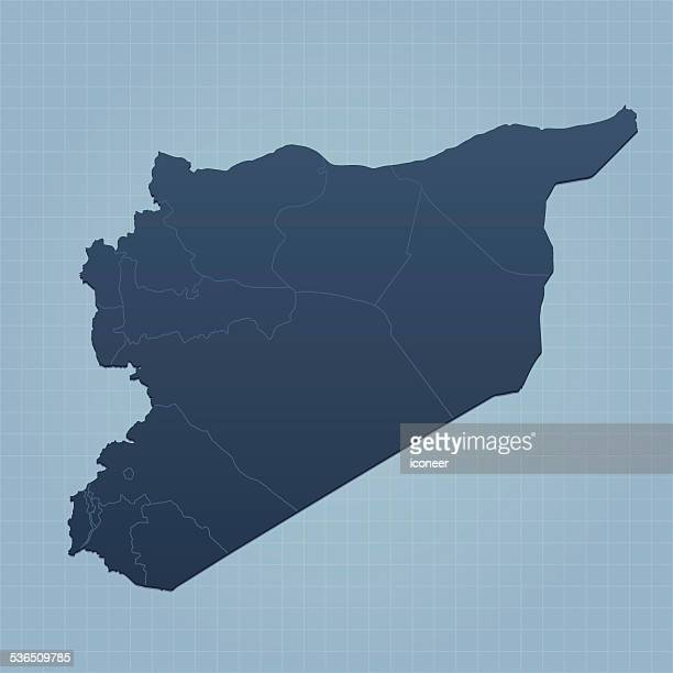 Syria map on grid background