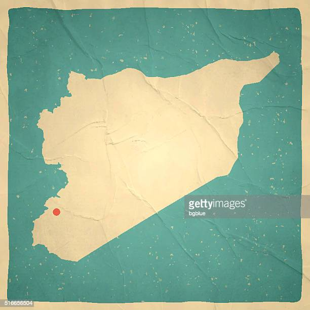 Syria Map on old paper - vintage texture