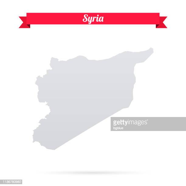 syria map on white background with red banner - syria stock illustrations