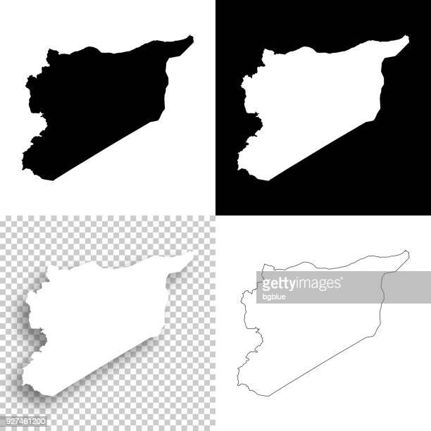 Syria maps for design - Blank, white and black backgrounds