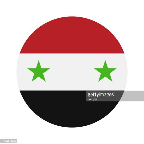 Syrien-Runder Flag Vector Flat Icon