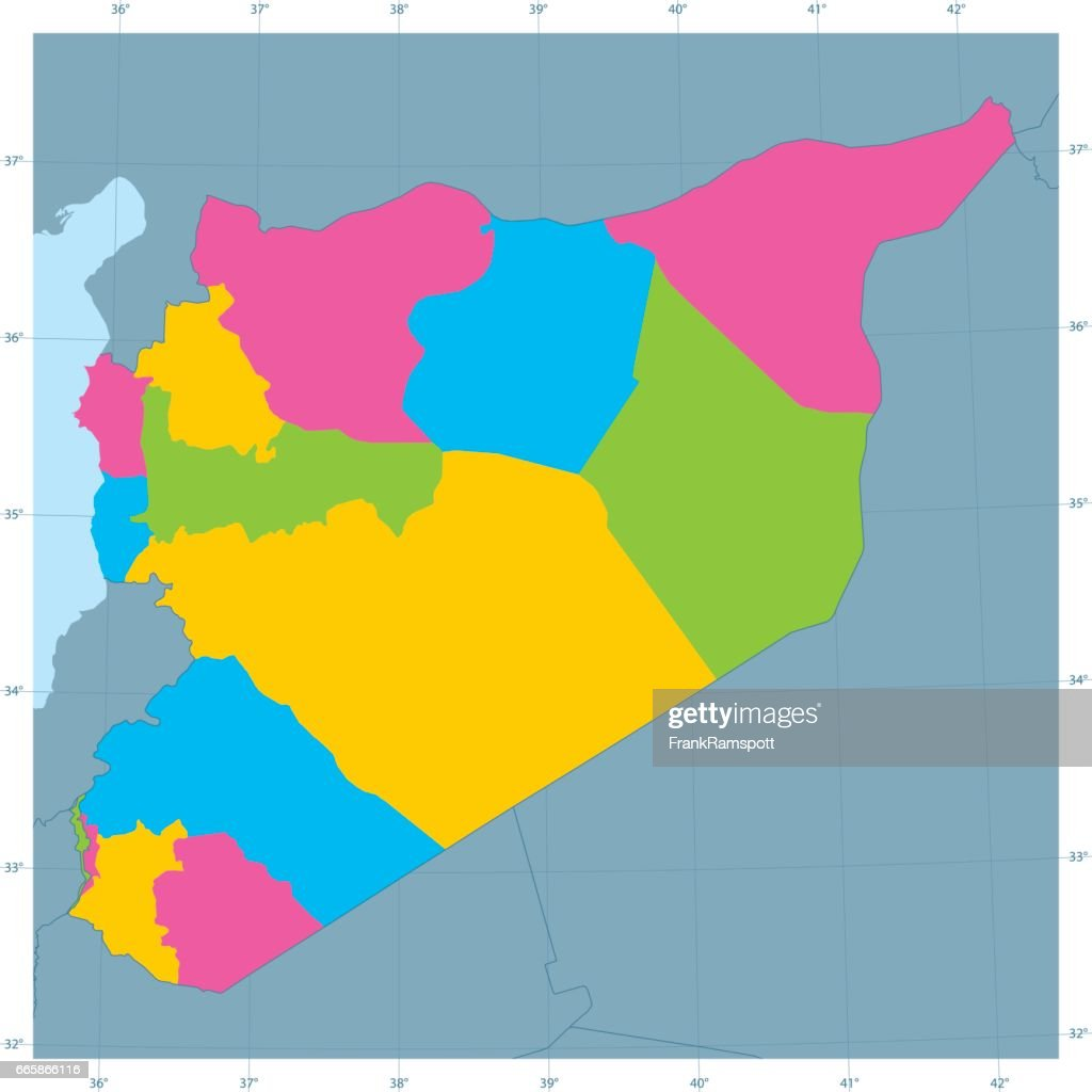 Syria Vector Map Colorful Administrative Divisions Vector Art