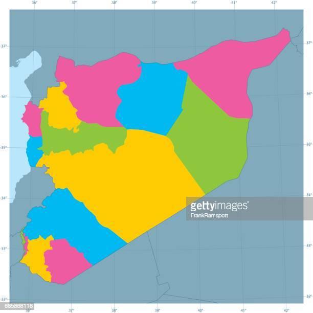 Syrien Vektor Karte bunt Administrative Abteilungen