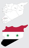 syrian maps, with syrian flag and borders of districts