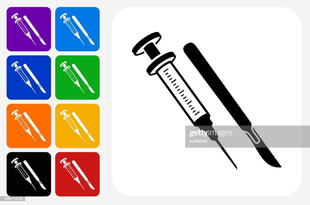 Spritze und Skalpell Symbol Square Buttonset : Stock-Illustration