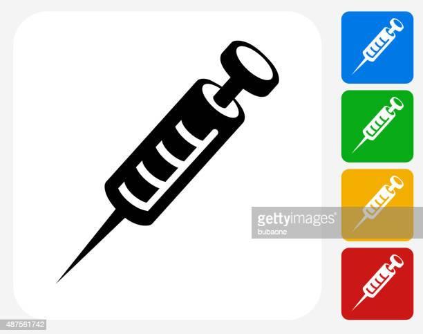 syringe icon flat graphic design - heroin stock illustrations, clip art, cartoons, & icons