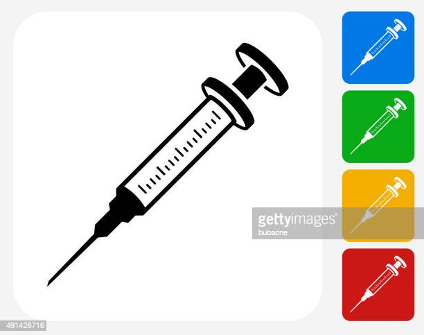 syringe icon flat graphic design - injecting stock illustrations