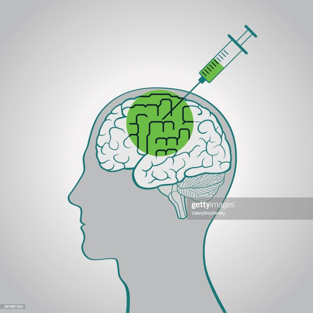 A syringe injection into the brain of a truth serum straightening out curves, brainwashing, flashing