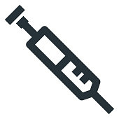 Syringe Vector Line Icon 32x32 Pixel Perfect. Editable 2 Pixel Stroke Weight. Medical Health Icon for Website Mobile App Presentation