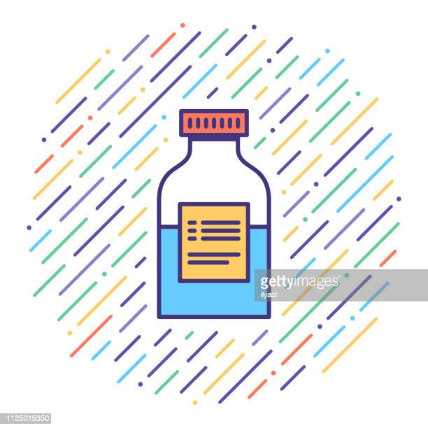 syrup medication flat line icon illustration - maple syrup stock illustrations