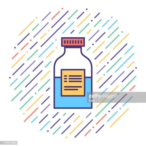 Syrup Medication Flat Line Icon Illustration