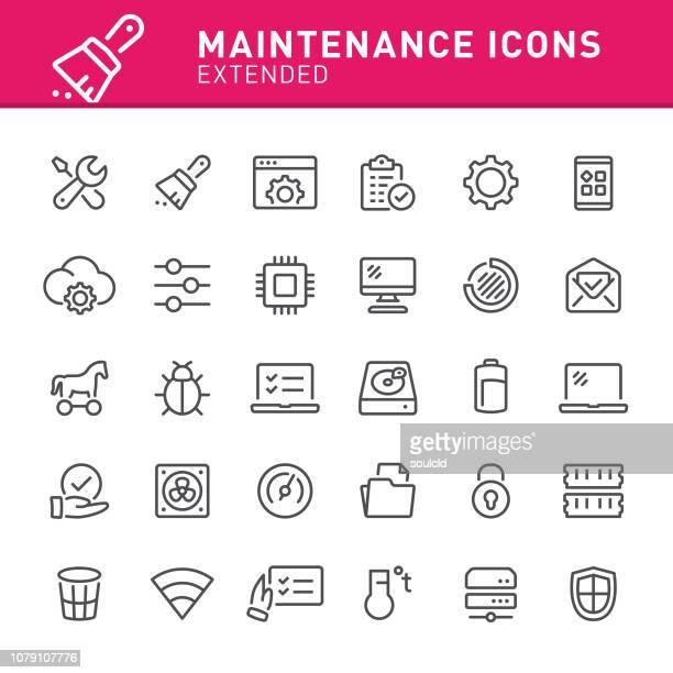 system maintenance icons - computer bug stock illustrations