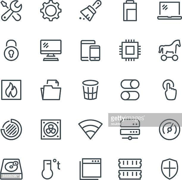 system maintenance icons - broom stock illustrations, clip art, cartoons, & icons