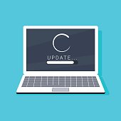 System software update and upgrade concept. Loading process in laptop screen.