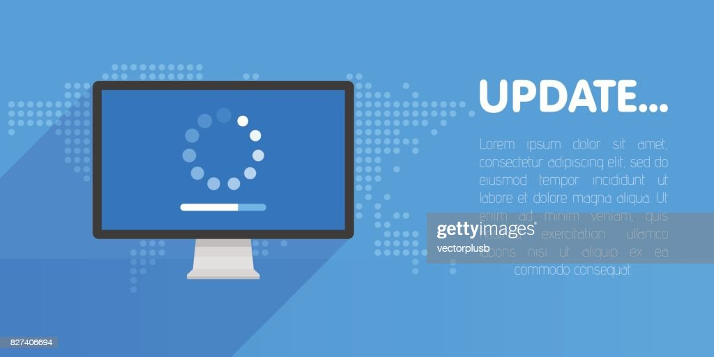 System software update and upgrade concept. Loading process in monitor screen. Vector illustration