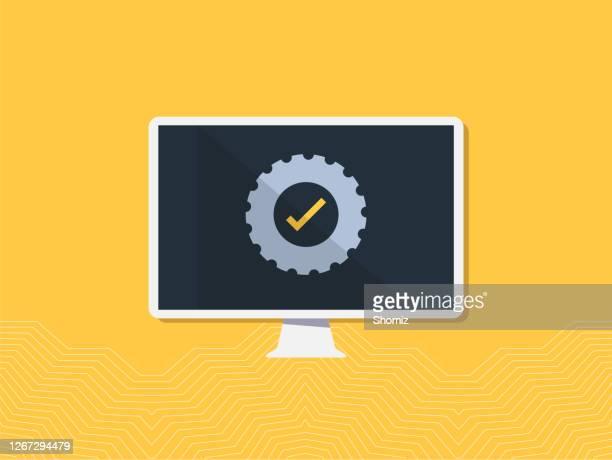 システム更新プログラムの改善 - ソフトウェアアップデート点のイラスト素材/クリップアート素材/マンガ素材/アイコン素材
