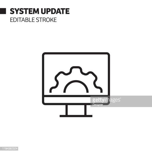 システム更新ライン アイコン、アウトライン ベクトル シンボルの図ピクセルパーフェクト、編集可能なストローク。 - ソフトウェアアップデート点のイラスト素材/クリップアート素材/マンガ素材/アイコン素材