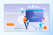 System update. People update operation system can use for, landing page, template,