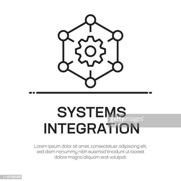 systems integration vector line icon - simple thin line icon, premium quality design element - solution stock illustrations