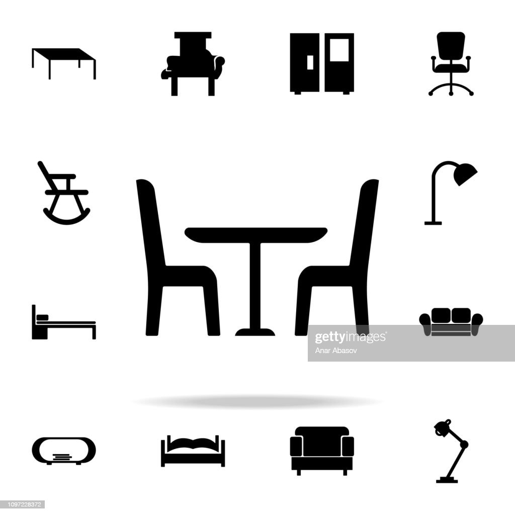 table and chairs glyph icon. Furniture icons universal set for web and mobile