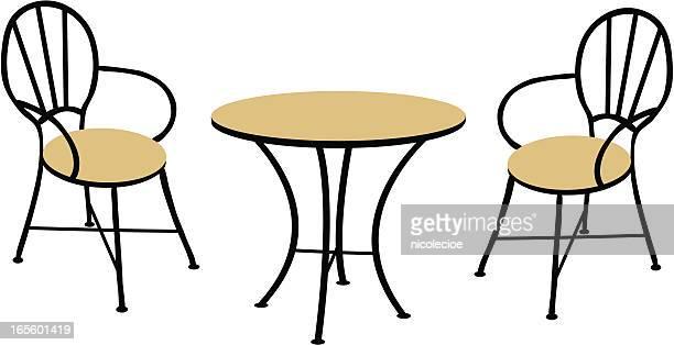 ilustraciones, imágenes clip art, dibujos animados e iconos de stock de mesa y sillas - mesa de comedor