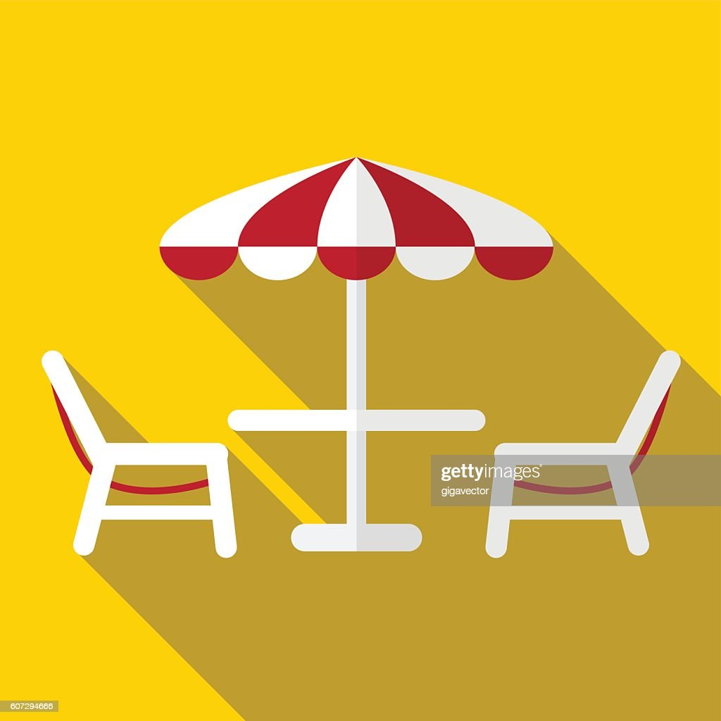 Table, chairs and umbrella flat icon illustration