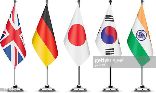 tisch flags - deutsche flagge stock-grafiken, -clipart, -cartoons und -symbole