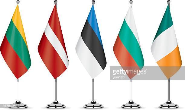 tisch flags - bulgarien stock-grafiken, -clipart, -cartoons und -symbole