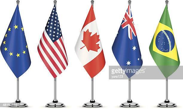 table flags - australian flag stock illustrations