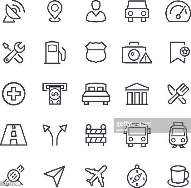 A table of black GPS navigation icons on a white background