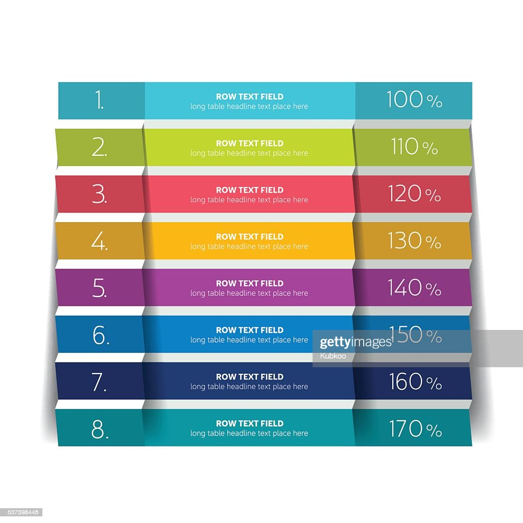 Table, schedule design template with 8 row. Vector banner.