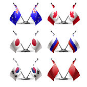 Table stand with flags of six countries. Symbolizing the cooperation between the two countries. flag icons. Two flag vector. flag pole.