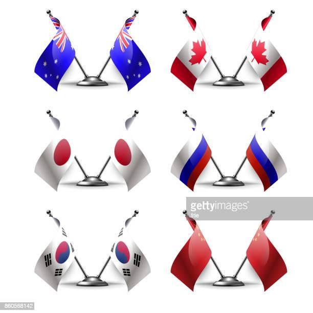 tabelle mit flaggen der sechs länder stehen. als symbol für die zusammenarbeit zwischen den beiden ländern. flaggen-icons. vektor-zwei flaggen. fahnenstange. - russische flagge stock-grafiken, -clipart, -cartoons und -symbole