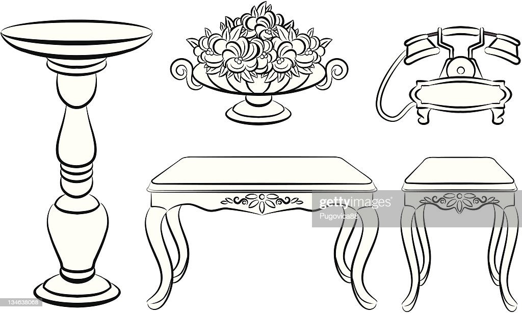 Table, telephone, vase with flowers for vintage interior. Vector