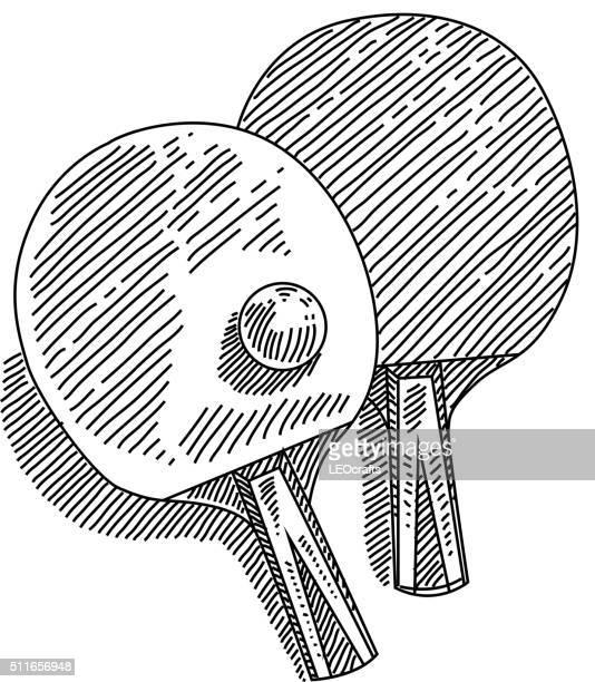 table tennis drawing - badminton racket stock illustrations, clip art, cartoons, & icons