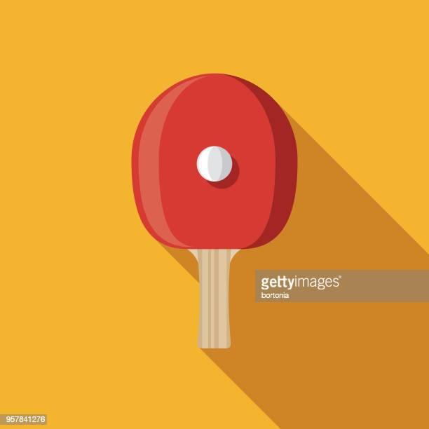 ilustraciones, imágenes clip art, dibujos animados e iconos de stock de tenis de mesa diseño plano deportes icono con sombra lateral - tenis de mesa