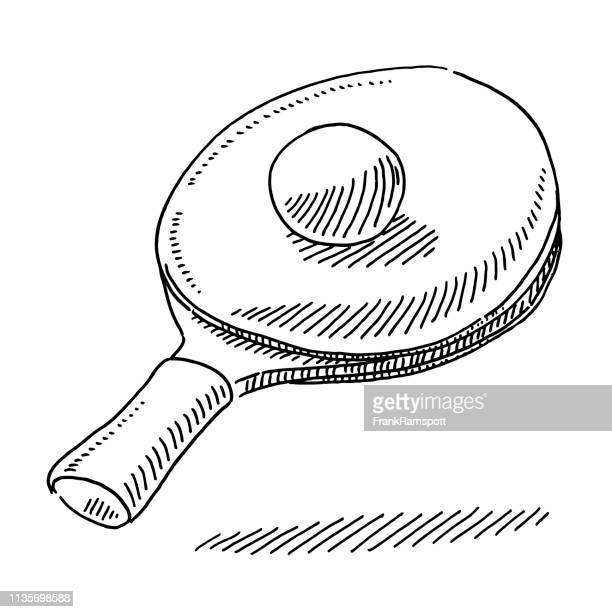 table tennis racket and ball drawing - table tennis stock illustrations