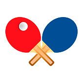 Table tennis rackets with ball vector illustration on white backgorund.