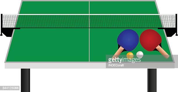 ilustraciones, imágenes clip art, dibujos animados e iconos de stock de mesa de tenis de mesa con pelotas de raqueta - tenis de mesa
