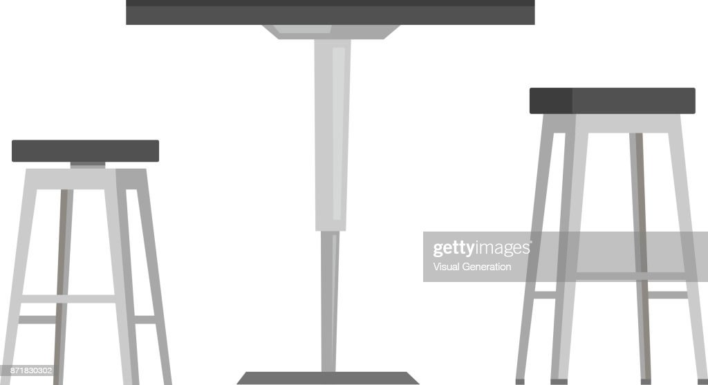 Table with bar chairs vector cartoon illustration
