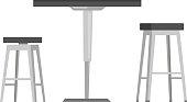 Table with bar chairs vector cartoon illustration