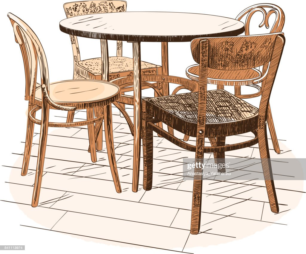 Table with four chairs isolated on white