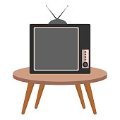 table with old tv isolated icon