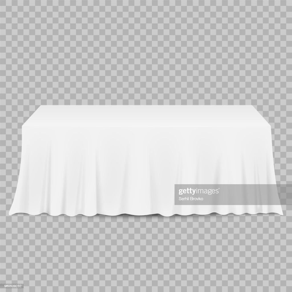 Table with tablecloth isolated on a transparent background. Vector illustration.